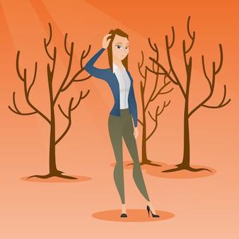 Foresta distrutta da un incendio o dal riscaldamento globale.