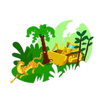 Banner web 2d di distruzione della foresta, poster. impatto umano sui boschi. danni industriali allo scenario piatto ambiente su priorità bassa del fumetto. patch stampabile di deforestazione, elemento web colorato