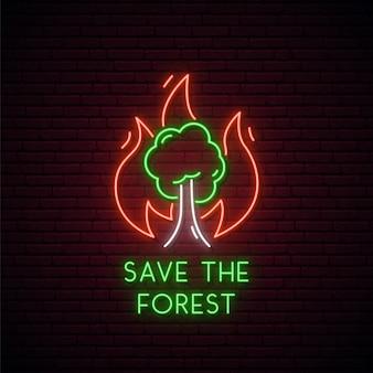 Insegna al neon degli incendi boschivi.