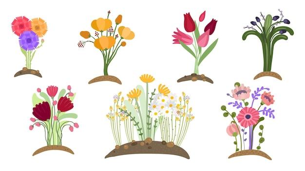 Giardino di fiori di bosco. piantagione floreale primaverile, giardinaggio semplice. campi in fiore, mazzi di fiori isolati in crescita. insieme di vettore di piante di primavera. illustrazione precoce fiore in fiore, fogliame decorazione botanica