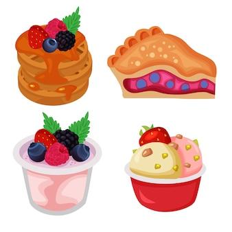Set di elementi di cibo e bevande di frutti di bosco