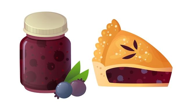 Torta ai frutti di bosco e vasetto di marmellata. illustrazione isolata.