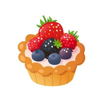 Crostata ai frutti di bosco. illustrazione isolata.