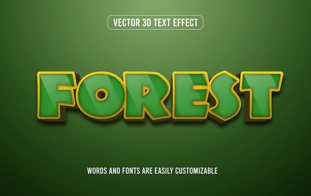Stile effetto testo modificabile 3d verde foresta