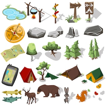 Elementi di escursionismo forestale per la progettazione del paesaggio. tenda e campo, albero, roccia, animali selvaggi.