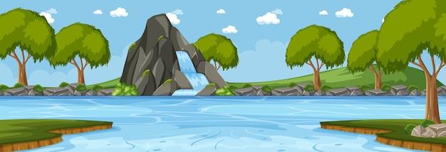 Scena orizzontale della foresta di giorno con cascata