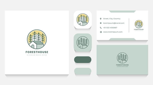 Modello e biglietto da visita del logo della casa nella foresta e del sole