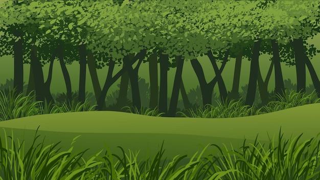 Illustrazione della foresta con erba