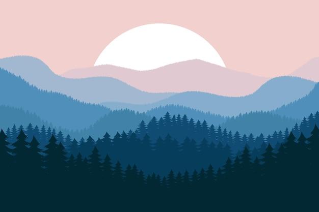 Illustrazione della priorità bassa del paesaggio della foresta