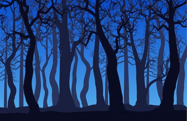 Paesaggio della foresta con alberi morti di notte
