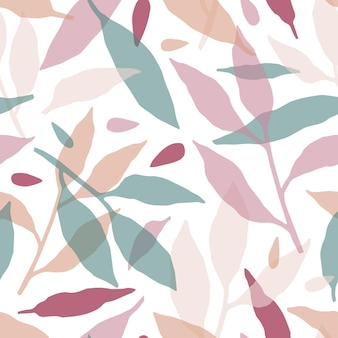 Modello senza cuciture disegnato a mano di foglie di foresta. struttura decorativa delle siluette multicolori dei rami.