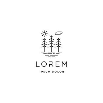 Simbolo del paesaggio del design della linea vettoriale del logo della foresta