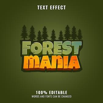 Mania della foresta con effetto di testo del titolo del gioco del gioco della sagoma della giungla