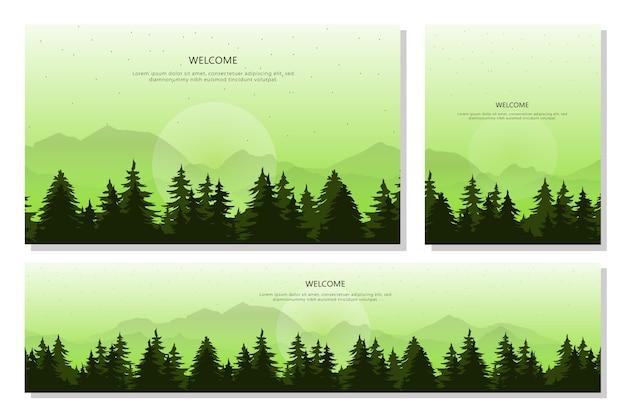 Set di banner di foresta e paesaggio di montagna, uno stile di design piatto. illustrazione di sfondi