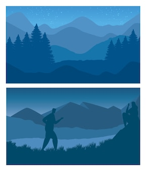 Foresta e montagne con l'uomo che cammina scene di paesaggi astratti