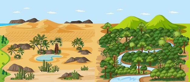 Scena del paesaggio naturale della foresta e deserto con scena del paesaggio dell'oasi