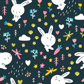 Reticolo senza giunte del coniglio della foresta. simpatici personaggi con fiori e libellule. illustrazione della scuola materna su sfondo scuro.