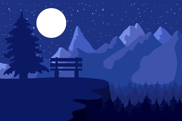 Riserva forestale e parco di conifere di notte vicino alle montagne sotto la luna. vettore