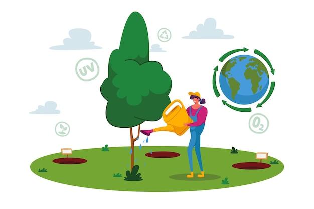 Concetto di ripristino, rimboschimento e piantagione di nuovi alberi forestali
