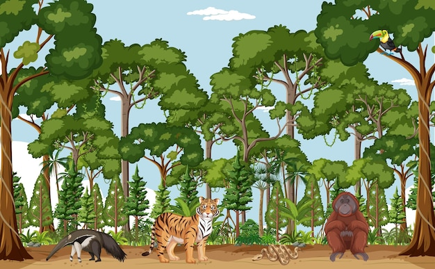 Scena della foresta con diversi animali selvatici