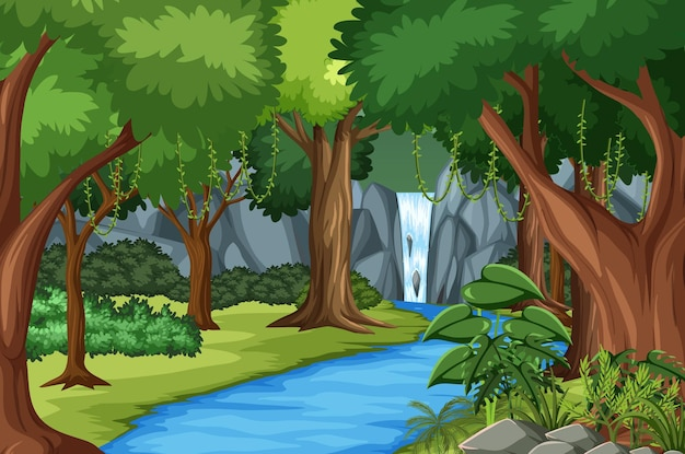 Scena della foresta con fiume e molti alberi