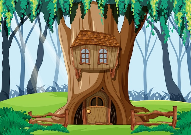 Scena della foresta con casa sull'albero all'interno del tronco d'albero