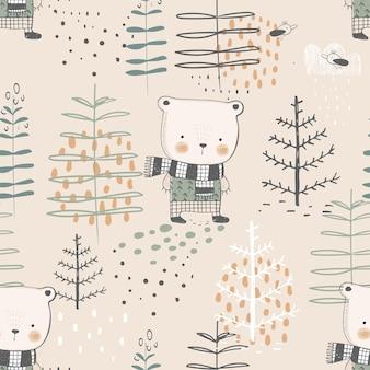 Modello senza cuciture della foresta con orso divertente illustrazione vettoriale disegnata a mano per tessuto per bambini