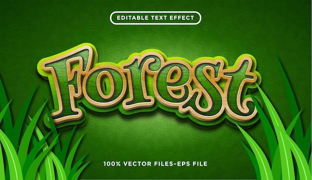Effetto testo foresta, fumetto modificabile e stile testo foresta vettore premium