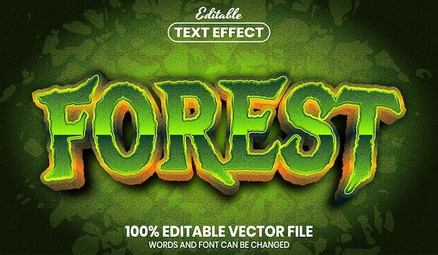Testo della foresta, effetto testo modificabile in stile carattere font