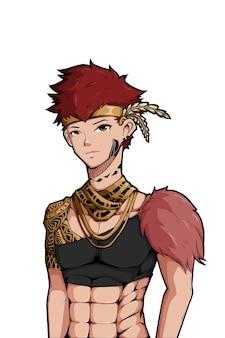 Disegno del personaggio del ragazzo tribale della foresta