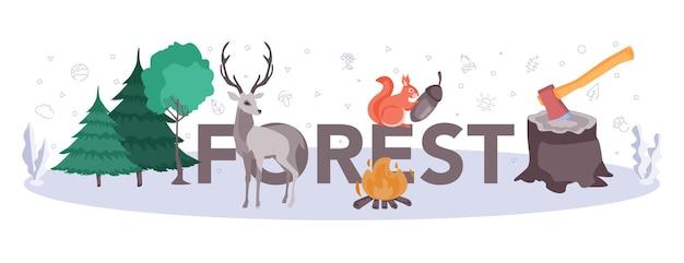 Intestazione tipografica della foresta