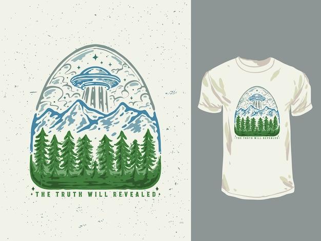 Illustrazione disegnata a mano della maglietta di ufo della foresta