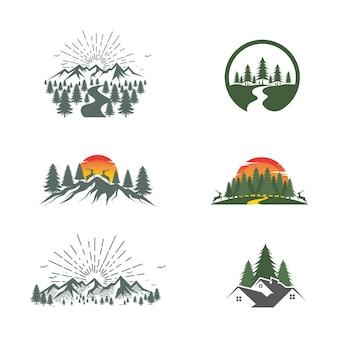 Illustrazione del disegno dell'icona di vettore della foresta template