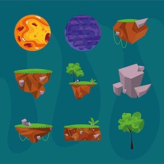 Set di elementi del videogioco della foresta