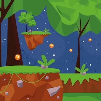Paesaggio del videogioco della foresta