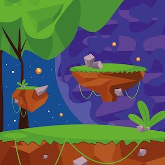 Livello di videogioco nella foresta