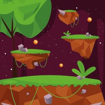 Scena del videogioco nella foresta