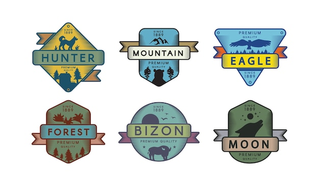 Insieme di modelli di logo della fauna selvatica della foresta. simbolo della riserva naturale. cacciatore, aquila, sagoma bizon
