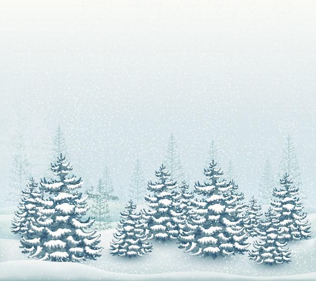 Illustrazione del paesaggio invernale della foresta
