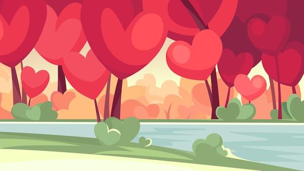 Foresta con alberi a forma di cuore in riva al fiume. bellissimo paesaggio astratto.