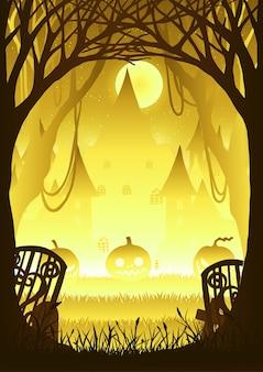 Foresta con zucca nella notte di halloween.