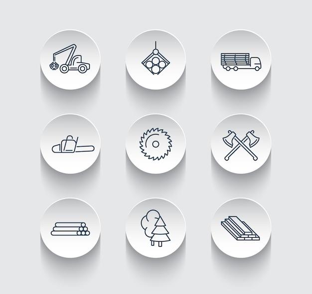 Silvicoltura, legname, mietitrice di alberi, icone di linea su forme rotonde 3d