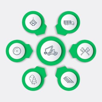 Silvicoltura, legname, mietitrice di alberi, elementi infografici di segheria, icone di linea