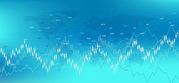 Fondo di borsa del mercato azionario forex. modello di banner web finanziario per grafico grafico di trading forex. indicatori di trading forex su sfondo bianco, illustrazione vettoriale.