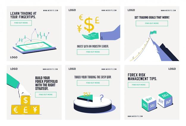 Modello di raccolta di post sui social media della quota di mercato azionario forex