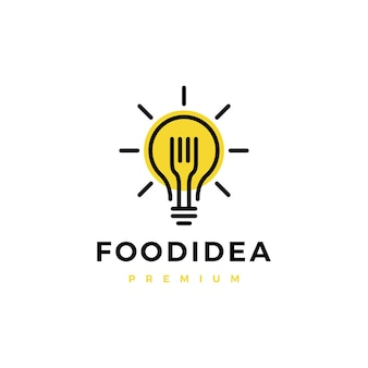 Logo intelligente idea cibo lampadina forcella