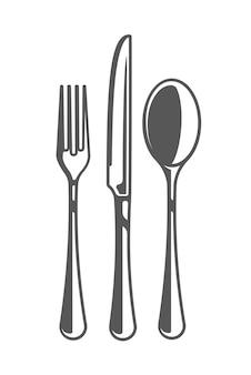 Forchetta, coltello e cucchiaio isolati su sfondo bianco.