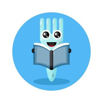 Forchetta leggendo un libro simpatico personaggio logo