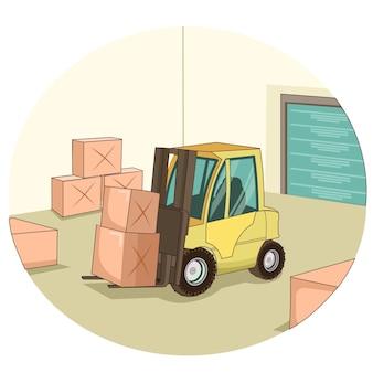 Operazione di carrello elevatore in fabbrica
