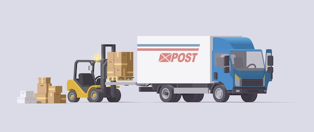 Carrello elevatore che solleva il carico nel camion del camion